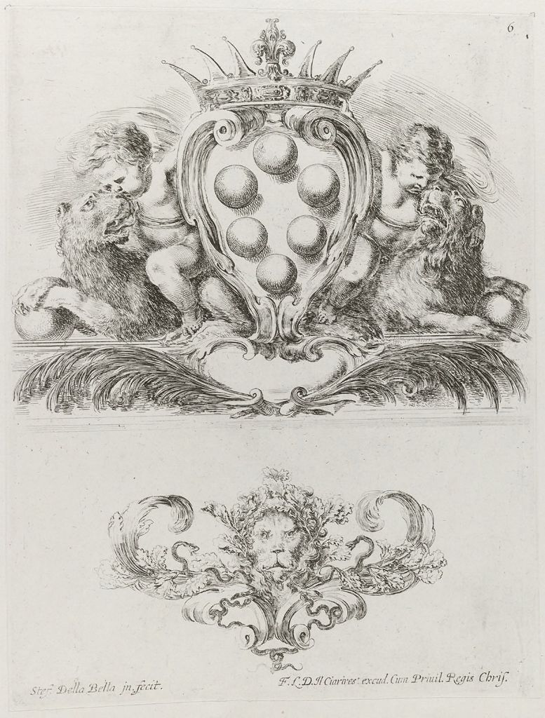 Two Putti Riding Lions Holding The Medici Coat Of  Arms