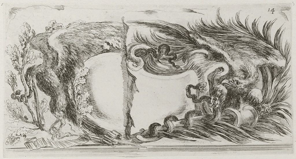 Two Eagles Battling Serpents