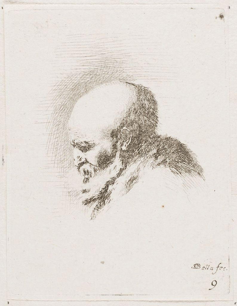 Profile Head Of A Bearded, Bald Old Man, Facing To The Left