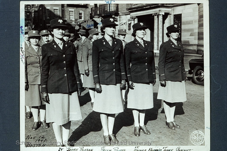 Members of the WAAC standing at attention during an Armistice Day parade in Boston.