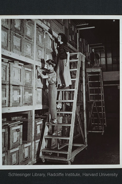 Three women taking inventory. All stand on wheeled ladders situated in front of a large storage shelf stocked with wood crates.