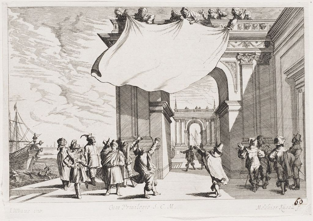 Figures Displaying A Cloth From Atop An Arch, With Spectators Below (Uninscribed Title Page Of The Ports Series)