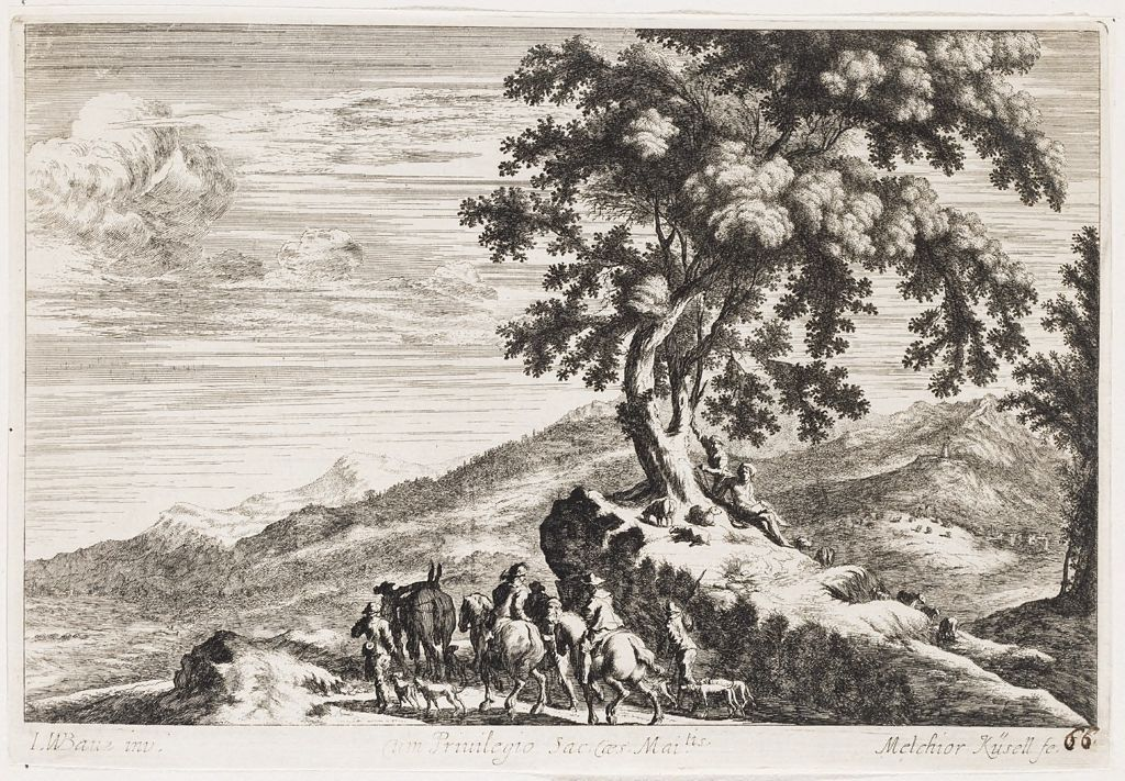 Shepherds Tending Sheep On A Hillock With Large Tree And Shepherd Group On Horseback With Dogs