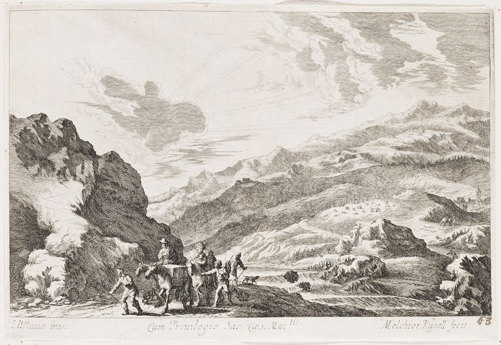 Hilly Riverside Landscape With A Family On Horseback Accompanied By Shepherds