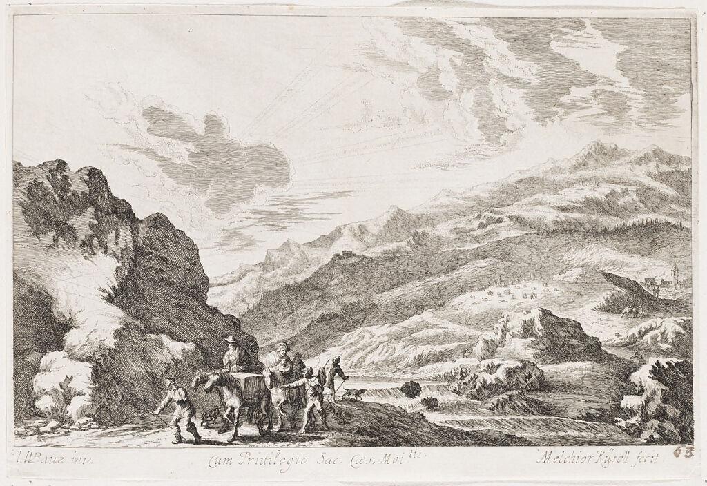 Hilly Riverside Landscape With A Family On Horseback Accompanied By Shepherds