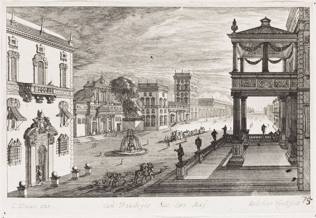 Piazza With Fountain Surrounded By Ornate Palaces; At Right, A Two-Tiered Palace Portico