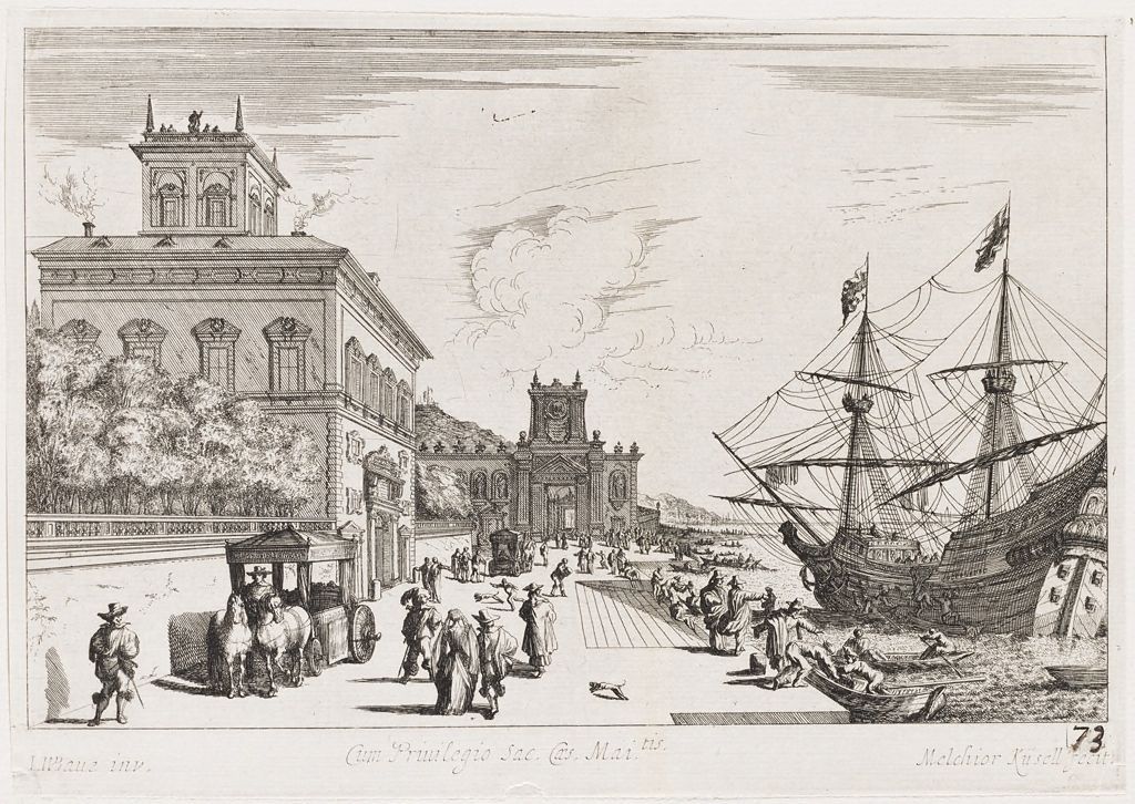 Seaside Promenade With Palace At The Left And Large Ship Docked At The Right