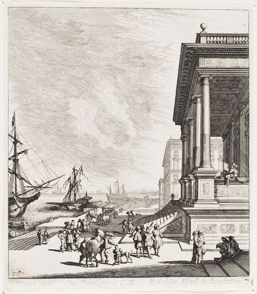 Port Scene With Figures Promenading And Large Porticoed Palace At Right