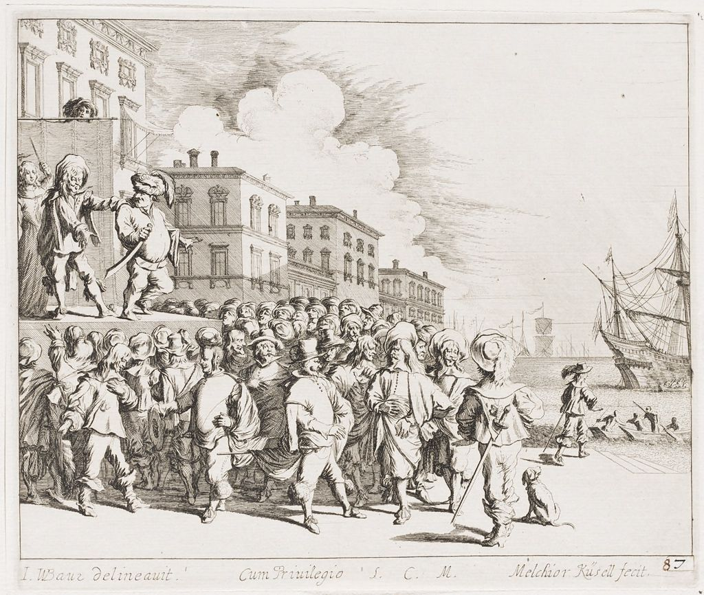 Port Scene With A Crowd Around A Elevated Platform With Four Figures, One Peeking From Behind A Full-Length Curtain