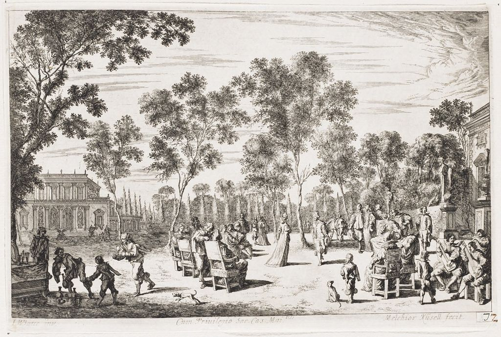 Garden Party With Couple Dancing, Encircled By Seated And Standing Guests; Musicians At Right