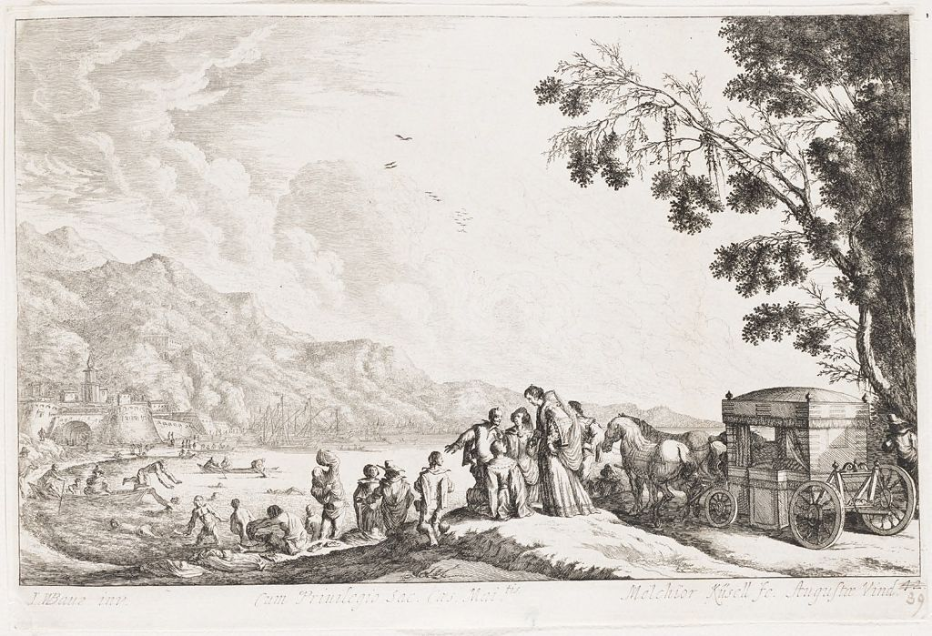 Horse-Drawn Carriage With Well-Dressed Figures And Bathers; Fortress And Port In The Background