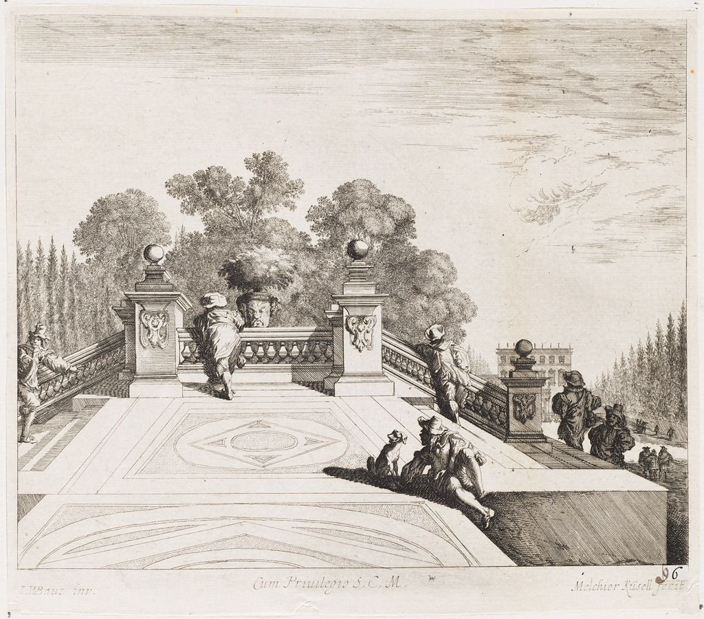 Six Figures And A Dog On An Ornamental Garden Bridge