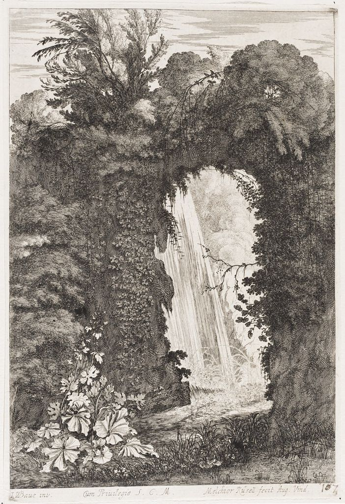 Waterfall Seen Through A Rocky Arch Covered With Overgrowth