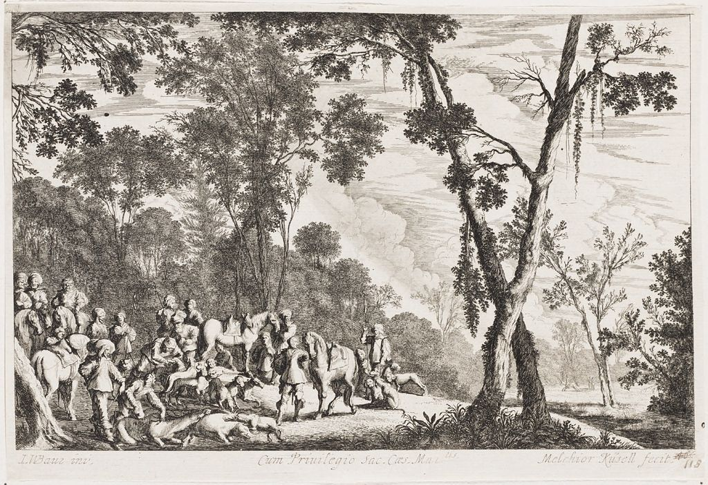 Hunting Party Scene In A Forest Clearing