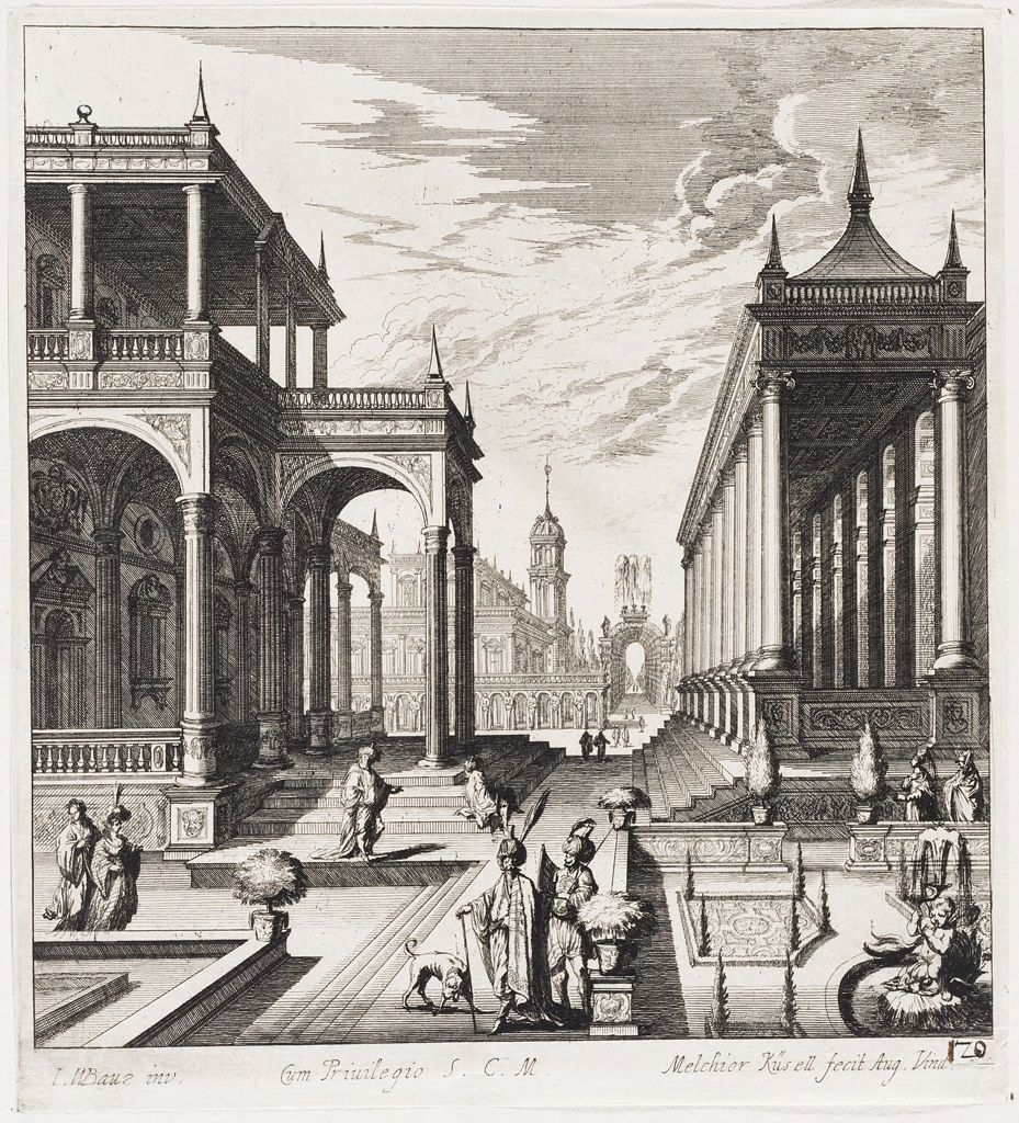 Figures In A Garden Beside A Porticoed Palace And Narrow Colonnade