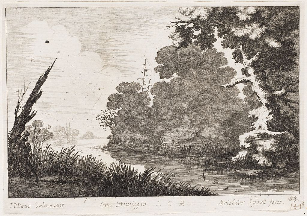Marshy Landscape With Four Fowl And A Large Tree At Right