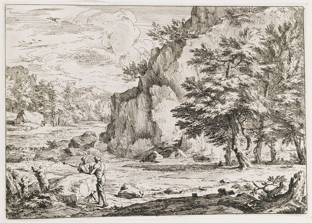 Rocky Landscape With Two Figures
