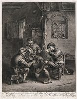 Three Peasants Around A Bench In An Interior