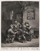 Three Peasants Around A Bench In An Interior