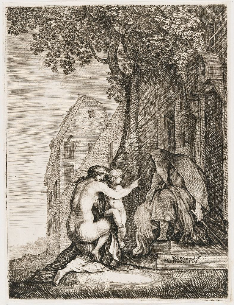 Nude Woman And Child Kneeling Before An Old Man