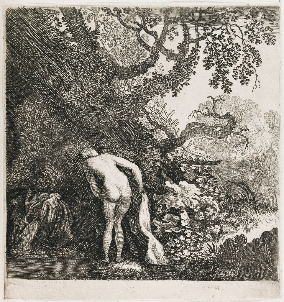 A Woman Bathing Seen From Behind