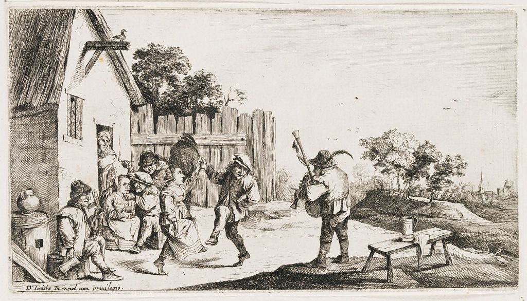 Couple Dancing Before A Farmhouse