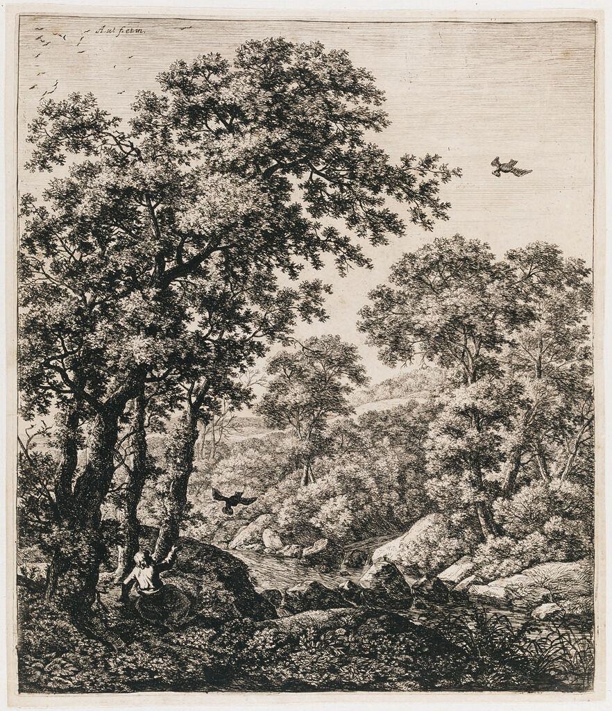 Landscape With Elijah Fed By Ravens