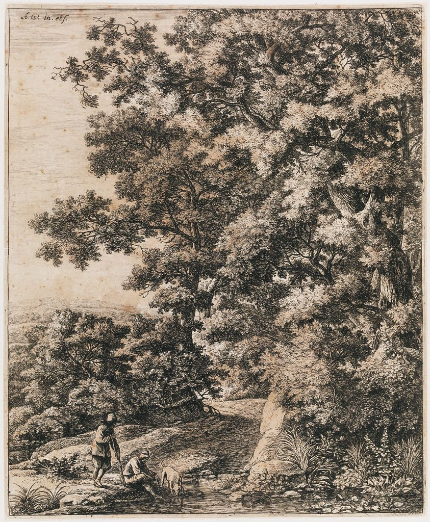 Landscape With Dog Drinking From A Stream