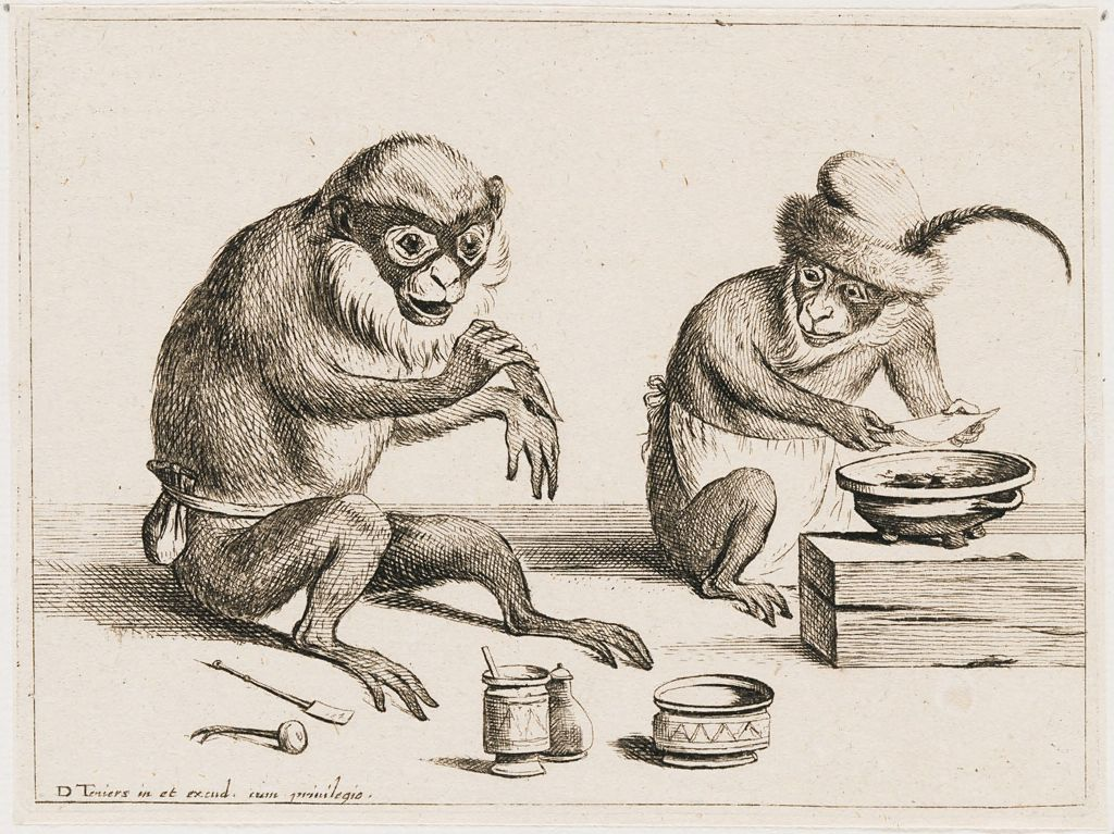Monkey Treating The Wounded Hand Of Another Monkey With Sticking Plaster
