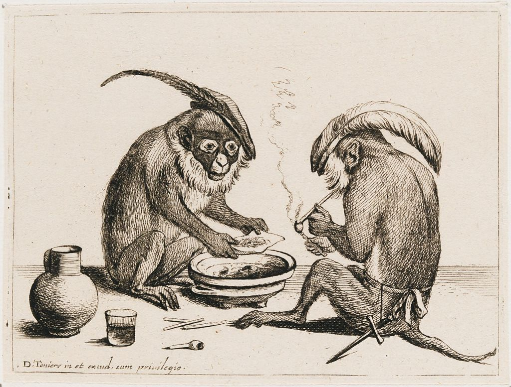Two Monkeys Smoking