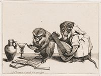 Monkey Singing, Accompanied On The Lute By Another Monkey