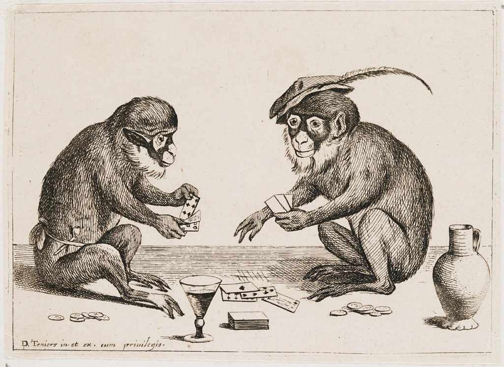 Two Monkeys Playing Cards
