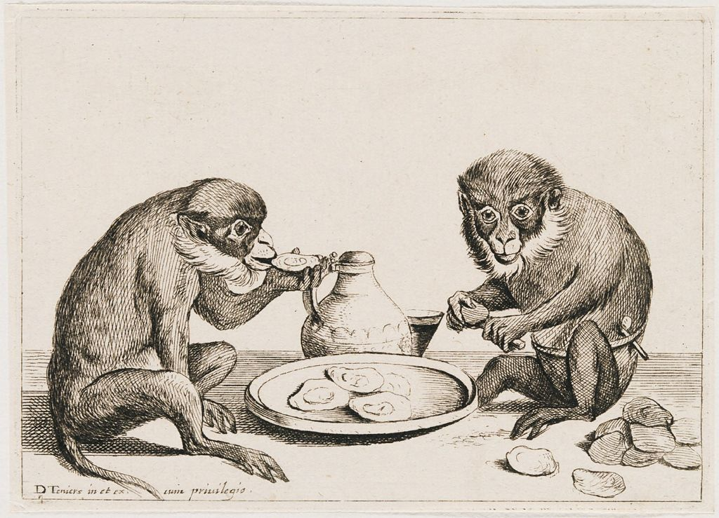 Two Monkeys Eating Oysters