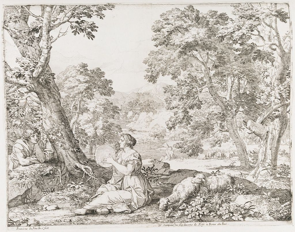 Woman Playing A Tambourine, With A Shepherd