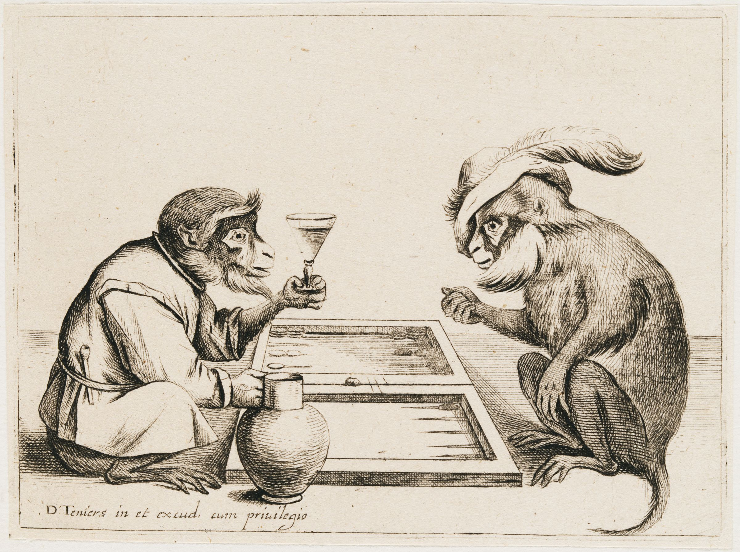 Two Monkeys Playing Backgammon