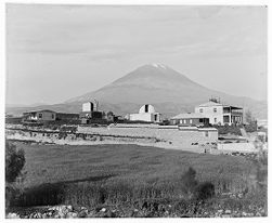 "Arequipa Station (Peru), view from west, El Misti in background, 24"" Bruce telescope dome completed"
