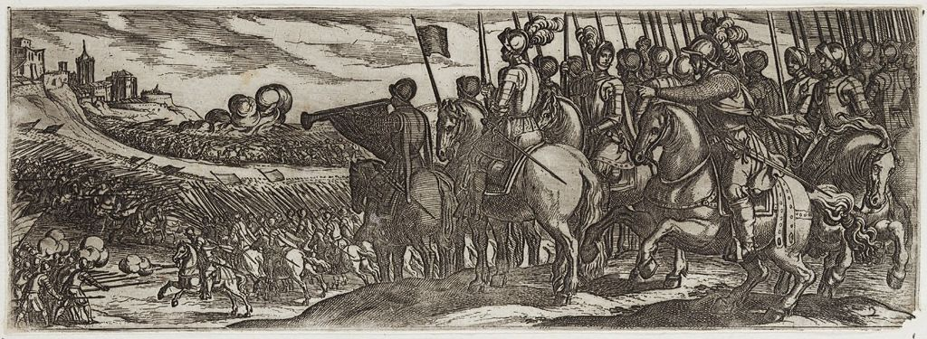Battle Scene With Cavalry And Trumpeter On A Hill