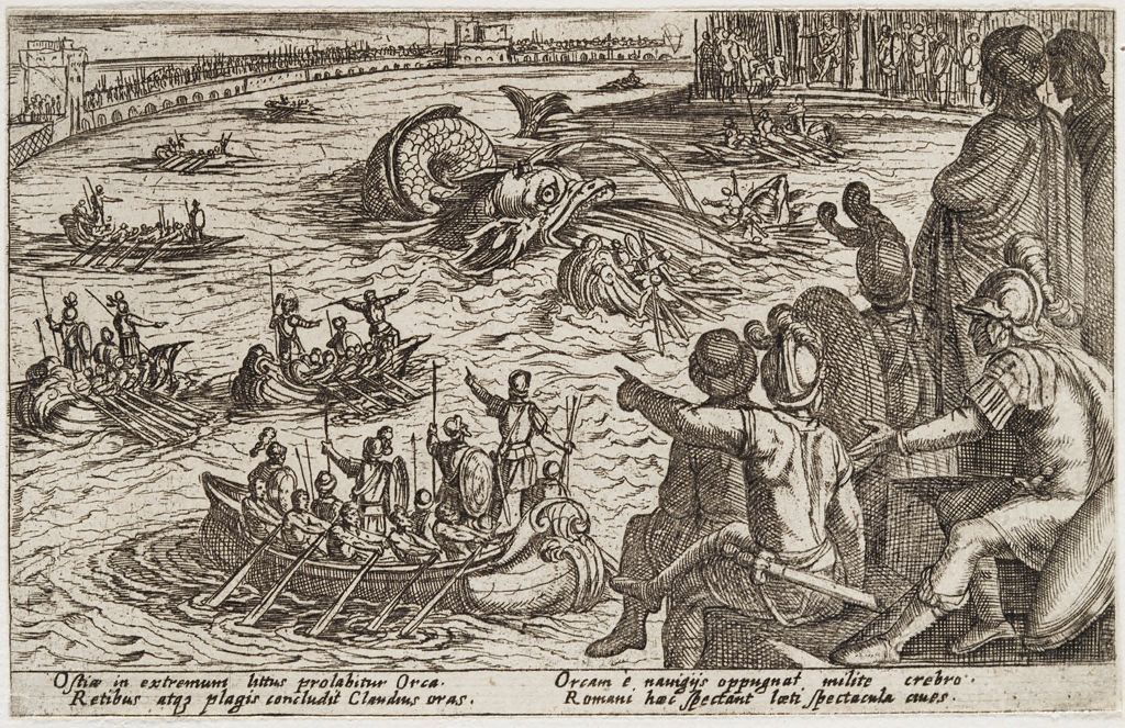 Roman Seamen Battling A Sea Monster
