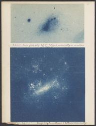 B 20668 [And. Nebula] From Glass Copy exp. 5 h. Followed occasionally in connection with other work. [and] Large Magellanic Cloud Followed occassionally [?] exp. 6 h 51 m.   [2 photographs]