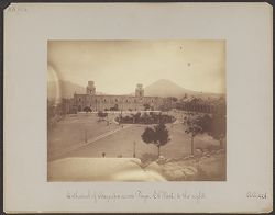 Cathedral of Arequipa, across Plaza. El Misti to the right