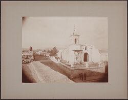 Santa Marta Church, showing effects of earthquake. Misti in background