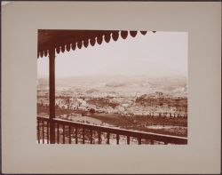 [View of valley and mountains from cottage porch, Arequipa]