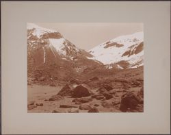 [View of mountan tops with rocks in foreground, near Arequipa, Peru]