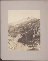 [View of street, dwellings and mountains in background, Arequipa, Peru]