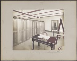 Interior view of room in photographic library [painted? photograph]