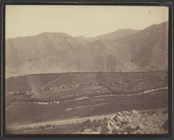 [View of landscape and mountains with pathway up mountain drawn in ink, photograph]