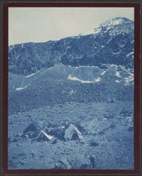 """Camp and """"Little Chachani"""", [cyanotype photograph]"""