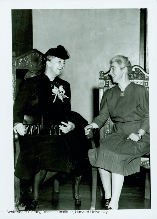 Miriam Van Waters (right) seated with Eleanor Roosevelt