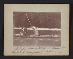 Salvajes remontando el Inambari, despues de una [illegible] de pesca.   Exploracion al rio Inambari