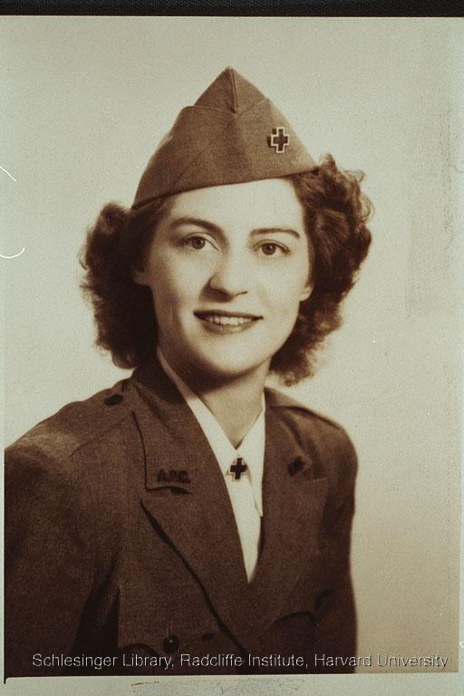Portrait of an unidentified woman dressed in an American Red Cross uniform.